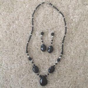Vintage Black & Silver Beaded Necklace & Earrings